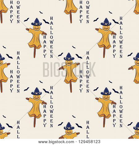 seamless pattern with Scarecrow Halloween on the moon background with bats. vector