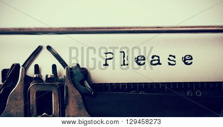 Please message against close-up of typewriter