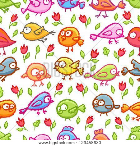 Cute little hand drawn colorful birds and flowers seamless pattern. Cartoon vector background with funny birds over white.