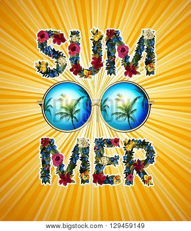 Summer Illustration. Vector shiny sun With floral letters. Summer lettering vector background illustration. Circle sunglasses with reflected palms.