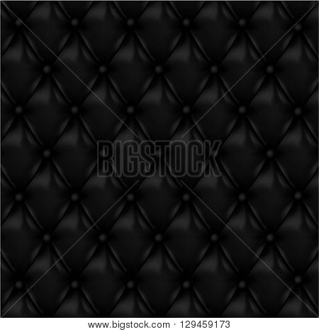 Black leather upholstery background. Leather texture.Vector illustration.
