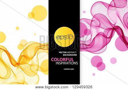 Abstract vector background, pink and orange transparent waved lines for brochure, website, flyer design.  pink and orange smoke wave. pink wavy background