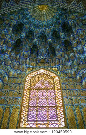 Samarkand Uzbekistan - April 18 2014: The inside of the Gur-Emir mausoleum thet protects the tomb of Tamerlane