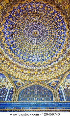Samarkand Uzbekistan - April 18 2014: The wonderful decorations of the Bibi Khanim mosque inside