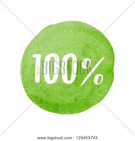 One Hundred Percent Card, Poster, Logo, Written On Watercolor Green Background Illustration