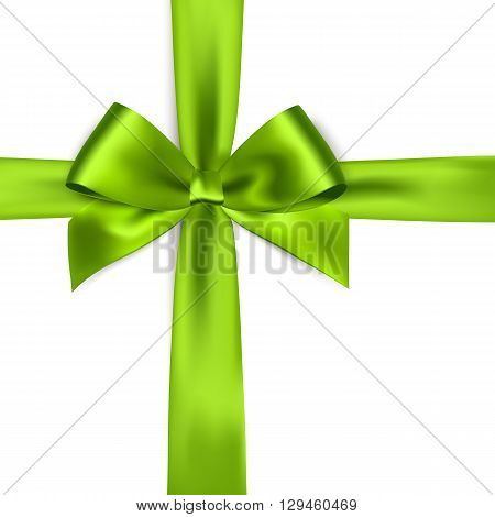 Shiny green satin ribbon on white background. Vector green bow. Green bow and green ribbon