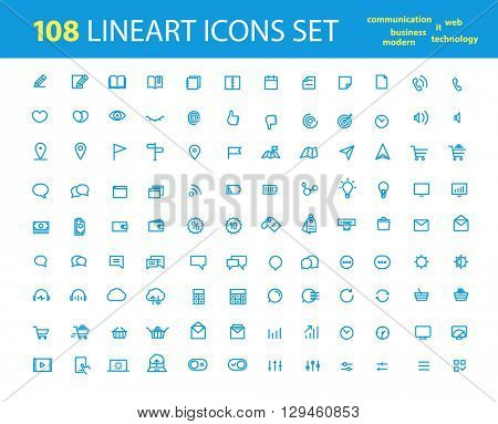 Different lineart interfece icons big collection