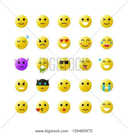 Set of yellow emoticons on white background. Vector emoticons illustration. Emoticons vector set. Emoticons web icons. Emoji iocns. Set of Emoticons. Set of Emoji. Smile icons.