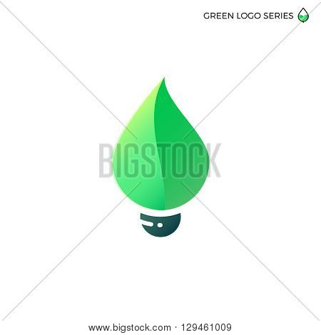 Leaf bulb. Leaf logo. Green energy logo. Bio energy. Eco green logo. Fresh logo. Natural logo. Natural green logo. Electricity logo. Green leaf bulb vector logo. Green energy design template