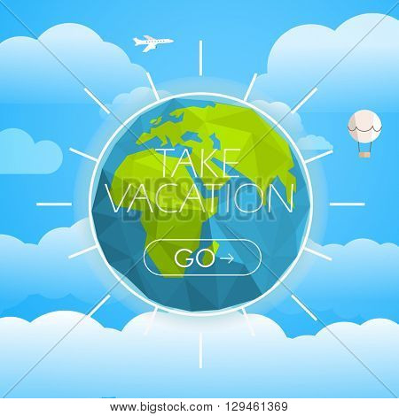Vacation travelling concept. Vector travel illustration. Take vacation 