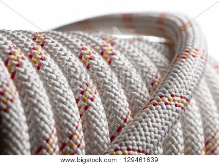 Close-up of safety rope isolated on white