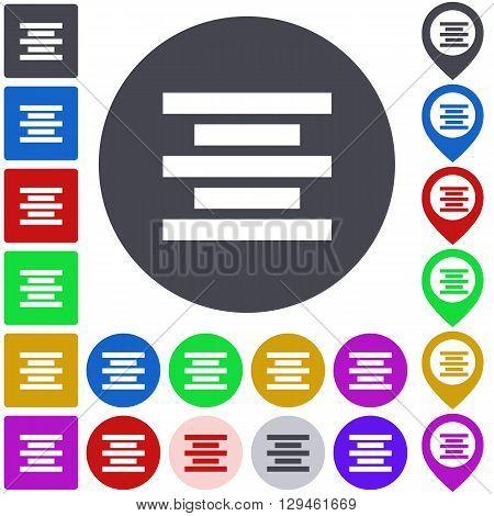 Color center align icon, button, symbol set. Square, circle and pin versions.