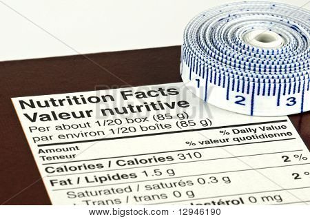 Diet Concept With Nutrition Facts And Tape Measure