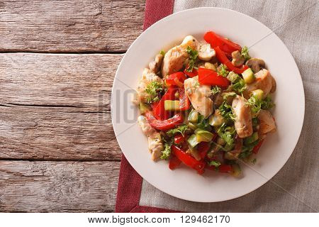Chicken Saute With Mushrooms And Vegetables Close-up. Horizontal Top View