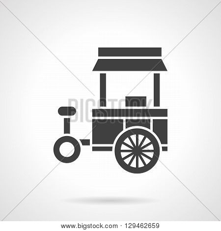 Monochrome silhouette of tricycle shop. Mobile food trade, outdoor lunch. Symbolic black glyph style vector icon. Element for web design and mobile.