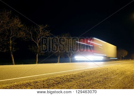 Truck on a highway in the night
