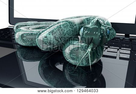 Digital Safety Concept Electronic Computer Snake
