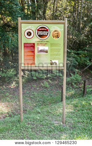 KNYSNA SOUTH AFRICA - MARCH 5 2016: Information board where the historic Templeman Station stood at the Ysterhoutrug picnic spot in the Knysna Forest. The railway ceased operation in 1949