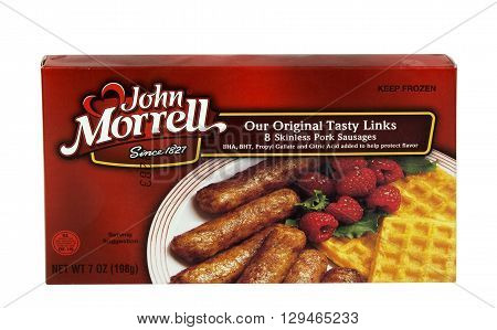 RIVER FALLS, WISCONSIN - MAY 12, 2016: A box of John Morrell brand frozen pork sausage links.