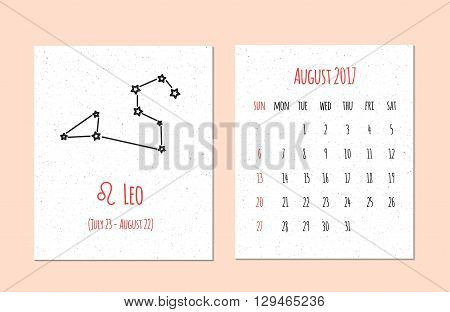 Vector calendar for 2017 in the zodiac style. Calendar for the month of August with the image of the Leo constellation on beige scratched background Elements for creative design ideas of your calendar