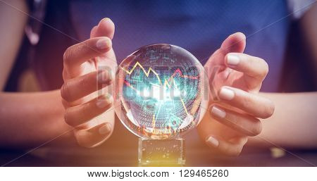 Stocks and shares against a clairvoyance woman