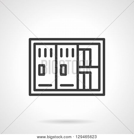 Two-door safe with documents. Saving sensitive information and financial documents. Banking, management, office equipment. Simple black line vector icon. Single element for web design, mobile app.