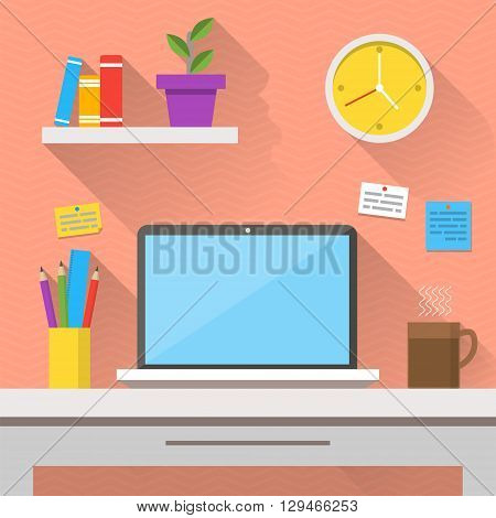 Flat design vector illustration of modern office interior. Creative cartoon office workspace with computer notes folders books plants mug clock. Flat minimalistic style and color long shadows.