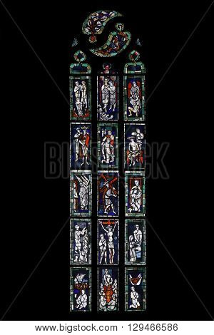 TUBINGEN, GERMANY - OCTOBER 21: Stained glass window, Collegiate Church of St. George in Tubingen, Germany on October 21, 2014.