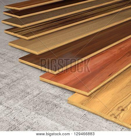 Different essences of hardwood planks 3D rendering