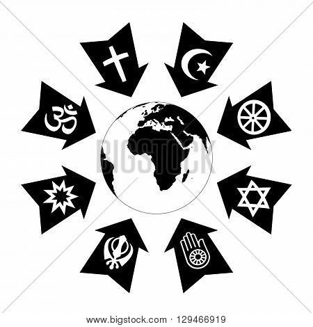 Pressure, stress and thread due to religion, depicted as black arrows with religious symbols pointing at planet earth.