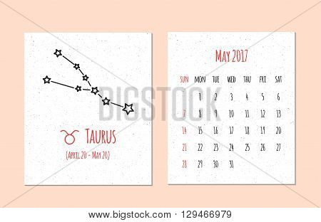 Vector calendar for 2017 in the zodiac style. Calendar for the month May with the image of the Taurus constellation on beige scratched background. Elements for design ideas of your calendar