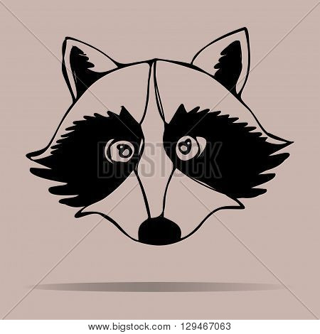 Raccoon portrait. Vector illustration.funny,  on a colored background