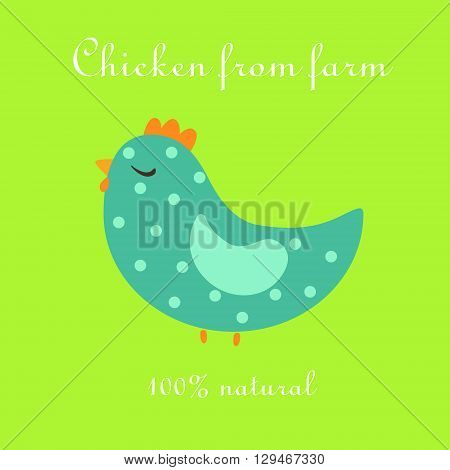 Cute chicken from farm natural poultry illustration