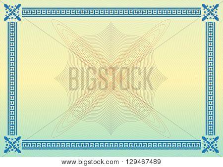 Ornamental border or frame. Certificate, diploma or voucher template. Vector illustration.