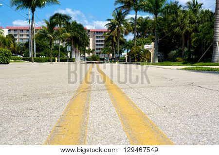 Ground Level View Of Road In Florida