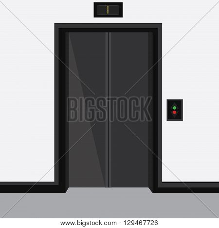 Vector illustration elevator with closed doors on first floor
