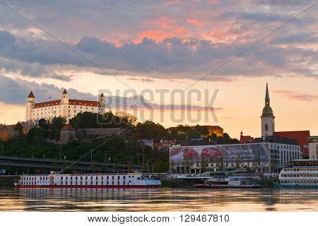 BRATISLAVA, SLOVAKIA - MAY 06, 2016: View of Bratislava city center over river Danube on May 06, 2016.