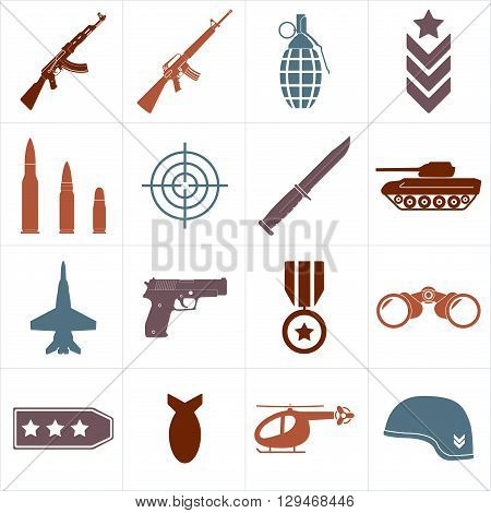 Weapons and military icon set isolated on white background. Symbolics and badge for army. Colorful vector illustration.
