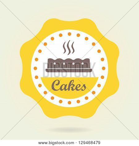 Cakes badge or label. Bakery and pastry design elements isolated on white background. Colorful vector illustration.