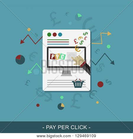 Pay per click flat web design. Vector illustration for online payment.