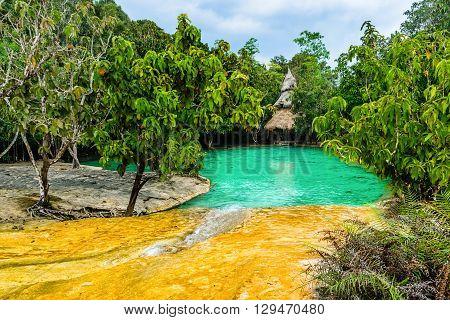 Emerald Pool aka Sa Morakot Khao Pra Bang Khram Wildlife Sanctuary Krabi Thailand. National Park Krabi Thailand tourist destination. Green color tropical lake Southeast Asia