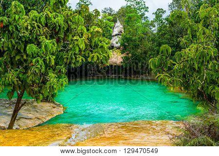 Emerald Pool aka Sa Morakot Khao Pra Bang Khram Wildlife Sanctuary Krabi Thiland. National Park Krabi Thailand tourist destination. Green color tropical lake Southeast Asia