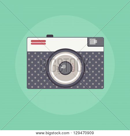 Vintage Retro camera color flat isolated vector illustration