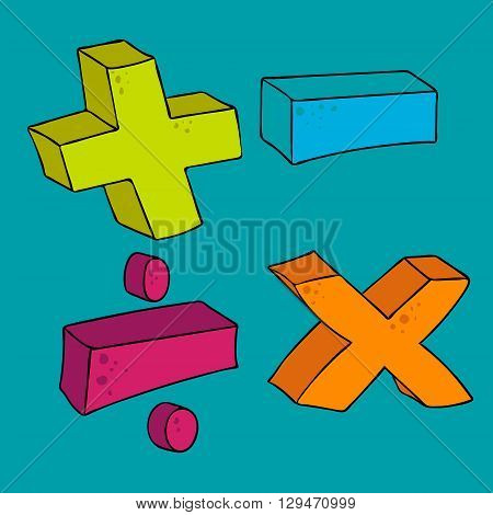 freehand drawn cartoon math symbols plus minus multiply divide volume