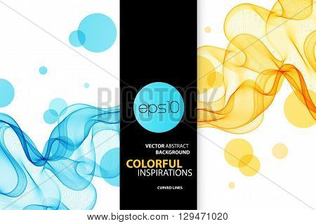 Abstract vector background, blue and orange transparent waved lines for brochure, website, flyer design.  Blue and orange smoke wave. Blue wavy background