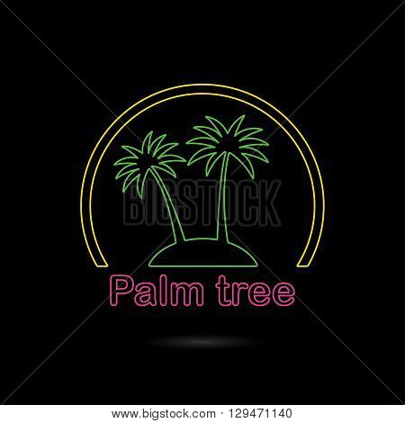 Palm tree icon or sign. Outline symbol of two neon glow palm trees silhouette on the island. Colorful vector illustration.