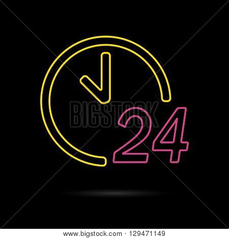 24 hours a day icon isolated on a dark background. Round the clock support symbol. Vector illustration of a colorful 24/7 neon sign.