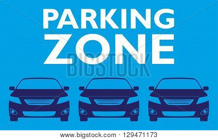 Parking zone design template with car icons. Parking sign. Vector illustration.