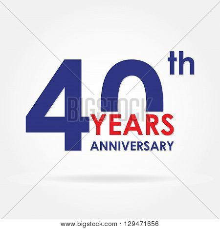 40 years anniversary icon or sign. Template for celebration and congratulation design. Colorful vector 40th anniversary label.