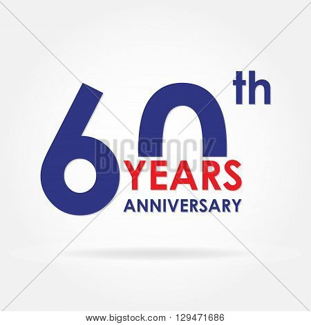 60 years anniversary sign or label. Template for celebration and congratulation design. Colorful vector 60th anniversary icon.